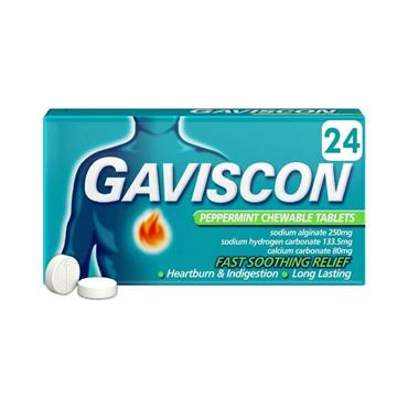 GAVISCON PEPPERMINT CHEWABLE TABLETS 24 PACK