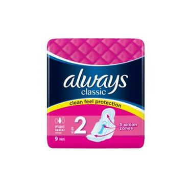 ALWAYS CLASSIC CLEAN FEEL PROTECTION MAXI SIZE 2 9 PACK