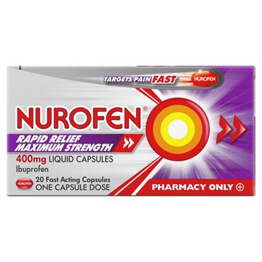 NUROFEN RAPID RELIEF MAXIMUM STRENGTH 400MG LIQUID CAPSULES 20 PACK