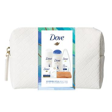 DOVE GENTLY NOURISHING ESSENTIALS WASH BAG WITH BAMBOO SOAP TRAY