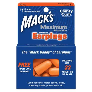 MACKS MAXIMUM PROTECTION SOFT FOAM EARPLUGS 10 PAIR