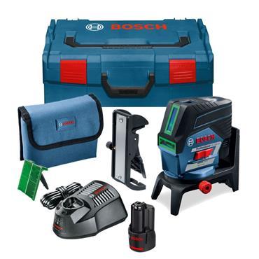 Bosch GCL2-50CG Green Line Combi Laser + RM2 Wall Mount, 1x 2Ah Battery, Charger, Kit-Box