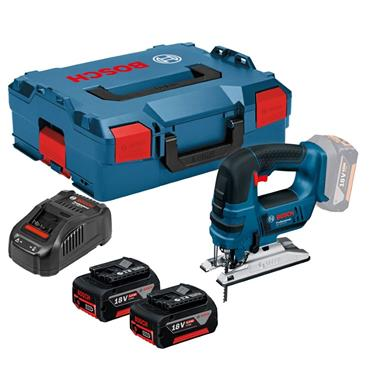 Bosch GST18V-LIB 18v Bow Handle Jigsaw, 2x 5Ah Batteries, Charger, Kit-Box