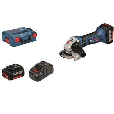 Bosch GWS 18 V-LI Professional  18 V Angle Grinder 2 x 4.0 Ah batteries, charger in a L-BOXX