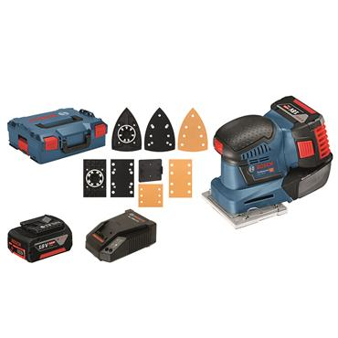 Bosch GSS 18 V-10 18V Orbital Sander, 2 x 5.0 Ah Li-ion battery, accessory set.