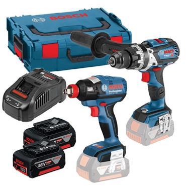 Bosch GSB18V-85C 18v Combi Drill + Impact Wrench Twin Kit, 2x5Ah Batteries, Charger, Kit-Box