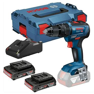 Bosch GSB18V-55 18v Brushless Combi Drill, 2x 2Ah Batteries, Charger, Kit-Box