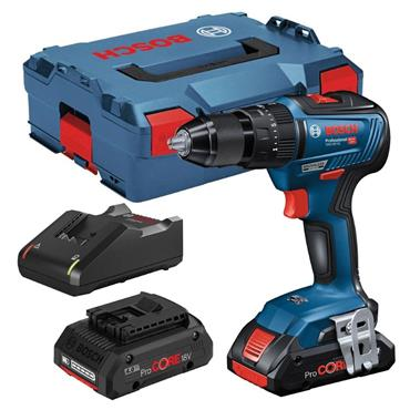 Bosch GSB18V-55 18v Brushless Combi Drill, 2x 4Ah Batteries, Charger, Kit-Box