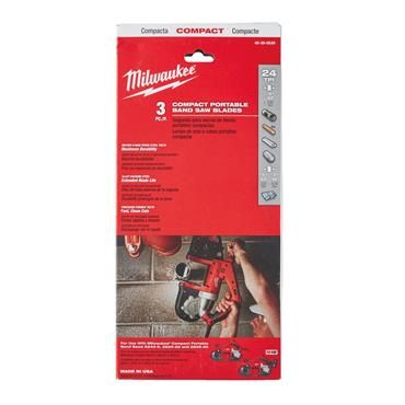Milwaukee (3.Pk) Compact Band Saw Blades (898.5 x 12.7mm, 24_TPI, Thick Metal)