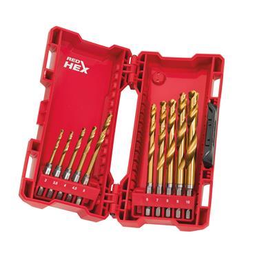 Milwaukee (10 Piece) Red Hex Shockwave HHS-Ground Titanium Metal Drill Bit Set