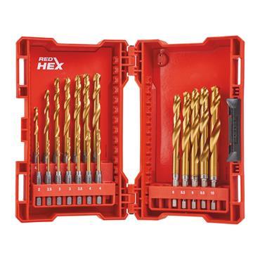 Milwaukee (19 Piece) Red Hex Shockwave HHS-Ground Titanium Metal Drill Bit Set