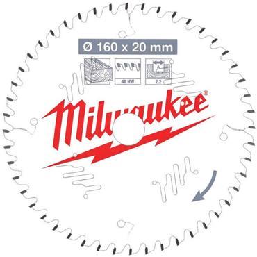 Milwaukee 160mm x 20mm x 48 Tooth Wood Cutting Circular Saw Blade