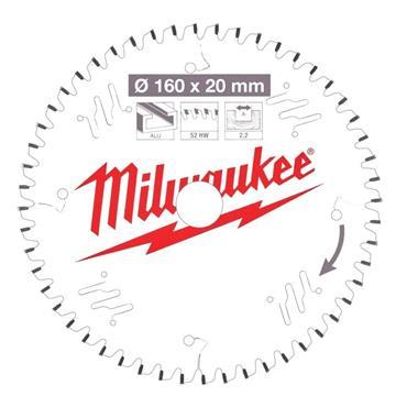 Milwaukee 160mm x 20mm x 52 Tooth Aluminium and Plastic Cutting Circular Saw Blade