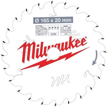 Milwaukee 165mm x 20mm x 24 Tooth Wood Cutting Circular Saw Blade