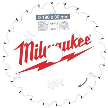 Milwaukee 190mm x 30mm x 24 Tooth Wood Cutting Circular Saw Blade