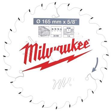 "Milwaukee 165mm x 15.87mm (5/8"") x 24 Tooth Wood Cutting Circular Saw Blade"