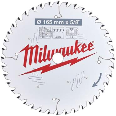 "Milwaukee 165mm x 15.87mm (5/8"") x 40 Tooth Wood Cutting Circular Saw Blade"