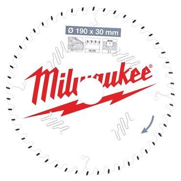 Milwaukee 190mm x 30mm x 48 Tooth Wood Cutting Circular Saw Blade
