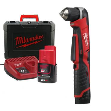 Milwaukee C12RAD-202B 12v Compact Right Angle Drill, 2x2ah Batteries, Charger and Tool-Bag