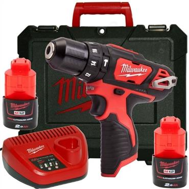 Milwaukee M12BPD-202C 12v Compact Percussion Drill, 2x2ah Batteries, Charger, Kit-Box
