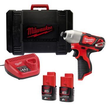 "Milwaukee M12BID-202C 12v Compact 1/4"" Hex Impact Driver, 2x2ah Batteries, Charger, KitBox"