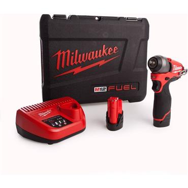 "Milwaukee M12BIW14-202C 12v 1/4"" Drive, Compact Impact Wrench, 2x2ah Batteries, Charger, Kit-box"