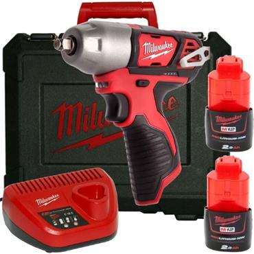 "Milwaukee M12BIW38-202C 12v 3/8"" Drive, Compact Impact Wrench, 2x2ah Batteries, Charger, Kit-box"