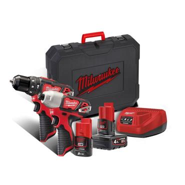 Milwaukee M12BPP2B-421C 12v Twin Pack Combi Drill + Impact Driver, Batteries, Charger, Kit-box