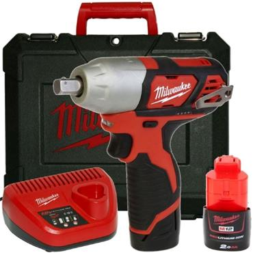 "Milwaukee M12BIW12-202C 12v 1/2"" Drive, Compact Impact Wrench, 2x2ah Batteries, Charger, Kit-box"