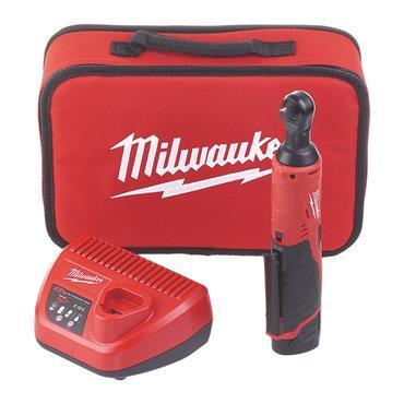 "Milwaukee M12IR-201B 12v 3/8"" Drive, Impact Ratchet, 1x2ah Battery, Charger, Tool Bag"