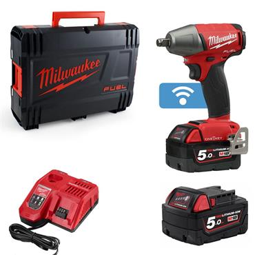 """Milwaukee M18ONEIWF12-502X 18v FUEL 1/2"""" Impact Wrench, 2x5ah Batteries, Fast Charger, Kit-box"""