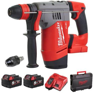 M18CHPX-502X, 18v SDS+ 4 Mode Rotary Hammer Drill, 2x 5Ah Batteries, Charger, Kit-Box