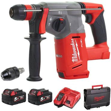 Milwaukee M18CHX-502X 18v FUEL SDS+ Hammer, 2x5ah Batteries, Charger and  KitBox