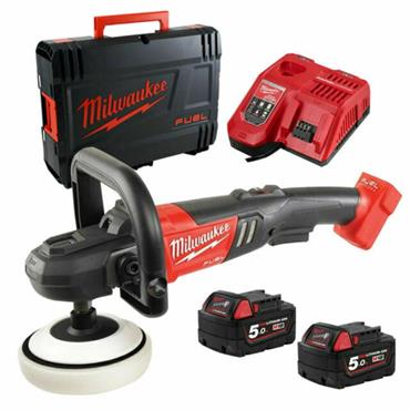 Milwaukee M18FAP180-502X 18v FUEL Variable Speed Polisher, 2x 5Ah Batteries, Charger, Kit-Box