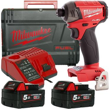 Milwaukee M18FQID-502X 18v FUEL Surge Hydraulic Impact Driver, 2x5ah Batteries, Charger
