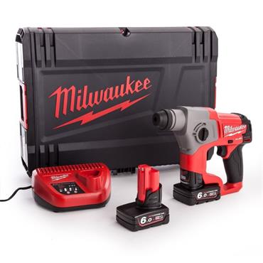 Milwaukee M12CH-602X, 12V FUEL SDS Rotary Hammer Drill, 2x 6Ah Batteries, Charger, Kit-Box