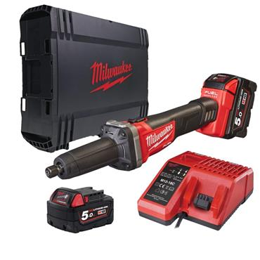 Milwaukee M18FDG-502X 12v FUEL 125mm Straight Die Grinder, 2x5Ah Batteries, Charger, Kit-Box
