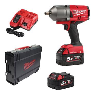 """Milwaukee M18ONEFHIWF12-502X 18v FUEL 1/2"""" Impact Wrench, 2x5ah Batteries, Fast Charger, Kit-box"""