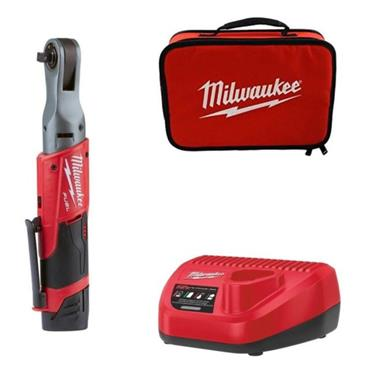"Milwaukee M12FIR38-201 12v FUEL 3/8"" Impact Ratchet , 1/4"" Adaptor, 1x2ah Batteries, Charger"