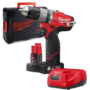 Milwaukee M12FPD-602X 12v FUEL Compact Percussion Drill, 2x6ah Batteries, Charger and HD Box