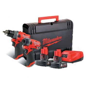 Milwaukee M12FPP2A-602X 12v Twin Pack Combi Drill + Impact Driver, 2x6Ah Batteries, Charger, Kit-Box