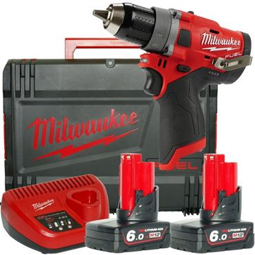 Milwaukee M12FDD-602X 12v FUEL Compact Drill Driver, 2x6ah Batteries, Charger & HD-Box