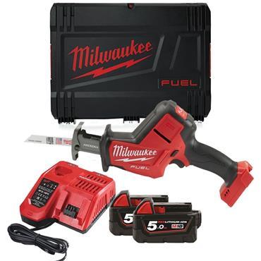 Milwaukee M18FHZ-502X 18V FUEL HACKZALL, 2X 5Ah Batteries, Charger, Kit-Box