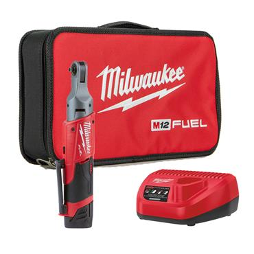 "Milwaukee M12FIR14-201B 12v FUEL 1/4"" Impact Ratchet, 3/8"" Adaptor, 1x2ah Battery, Charger, Tool-Bag"