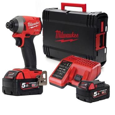 Milwaukee M18FID2-502X 18v Impact Driver, 2x5Ah Batteries, Charger, Kit-Box