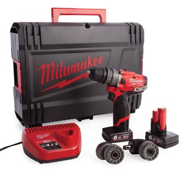 "Milwaukee M12FPDXKIT-602C 12v Compact Percussion Drill, Removable Chuck and 1/4"" attachments."