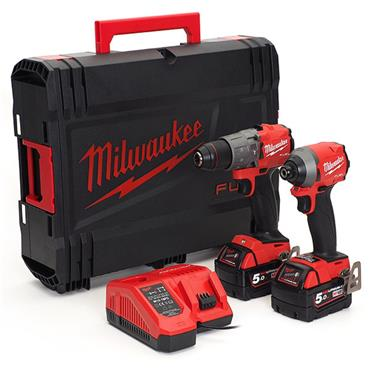 Milwaukee M18FPP2A2-502X 18v FUEL Twin Kit, 2x5.0Ah Batteries, Charger, Kit-Box