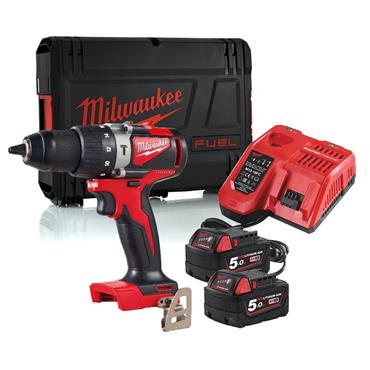Milwaukee M18BLPD2-502X 18v Compact Brushless Percussion Drill, 2x5.0Ah Batteries, Charger & Kit-Box