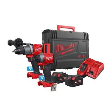 Milwaukee M18ONEPP2A2-502X 18v One-Key Fuel Twin Kit, 2x 5Ah Batteries, Charger, Kit-Box