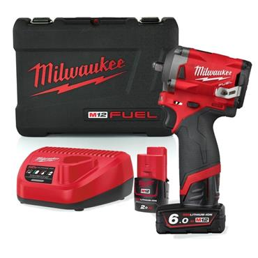 """Milwaukee M12FIW38-622X 12v FUEL 3/8"""" Impact Wrench, 1x2 and 1x6Ah Batteries, Charger, Kit-Box"""